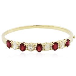 14KT Yellow Gold 4.90 ctw Ruby and Diamond Bracelet