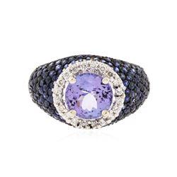 14KT White Gold 1.91 ctw Tanzanite, Sapphire and Diamond Ring