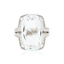 14KT White Gold 8.27 ctw Aquamarine and Diamond Ring