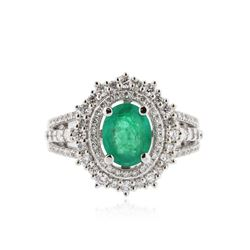 14KT White Gold 0.95 ctw Emerald and Diamond Ring