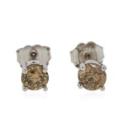 14KT White Gold 0.81 ctw Fancy Brown Diamond Stud Earrings