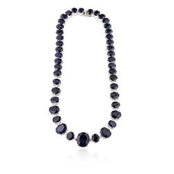 14KT White Gold 85.76 ctw Sapphire Necklace