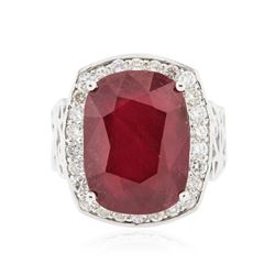 14KT White Gold 17.63 ctw Ruby and Diamond Ring