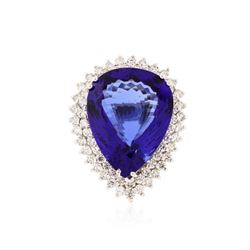 14KT White Gold GIA Certified 23.20 ctw Tanzanite and Diamond Ring
