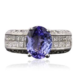 14KT White Gold 3.24 ctw Tanzanite and Diamond Ring
