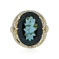14KT Yellow Gold 20.72 ctw Blue Topaz and Diamond Ring