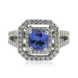 14KT White Gold 1.38 ctw Tanzanite and Diamond Ring