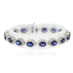 14KT White Gold 12.96 ctw Sapphire and Diamond Bracelet