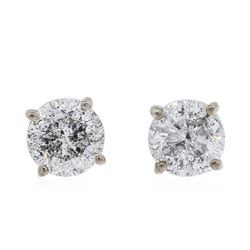 14KT White Gold 0.97 ctw Diamond Stud Earrings