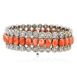 14KT White Gold 24.60 ctw Pink Coral and Diamond Bracelet