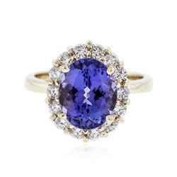 14KT Yellow Gold 4.18 ctw Tanzanite and Diamond Ring