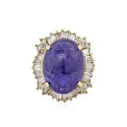 14KT Yellow Gold 19.51 ctw Tanzanite and Diamond Ring