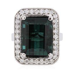 14KT White Gold 11.30 ctw Tourmaline and Diamond Ring