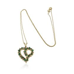 14KT Yellow Gold 0.80 ctw Emerald and Diamond Pendant With Chain