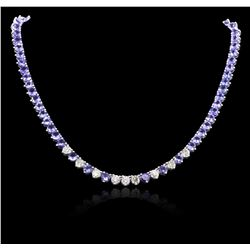 14KT White Gold 49.64 ctw Tanzanite and Diamond Necklace