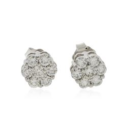 14KT White Gold 0.92 ctw Diamond Earrings