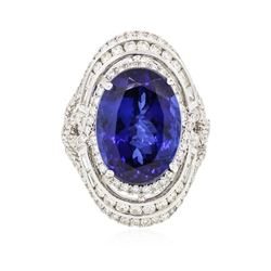 18KT White Gold GIA Certified 15.73 ctw Tanzanite and Diamond Ring