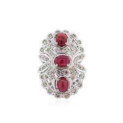 14KT White Gold 6.81 ctw Ruby and Diamond Ring