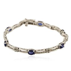 14KT White Gold 3.12 ctw Sapphire and Diamond Bracelet