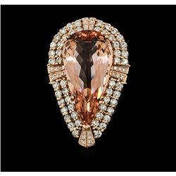 14KT Rose Gold GIA Certified 24.71 ctw Morganite and Diamond Ring