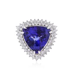 14KT White Gold GIA Certified 20.57 ctw Tanzanite and Diamond Ring