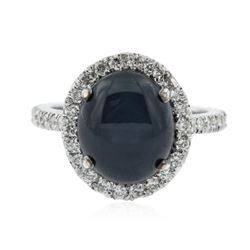 14KT White Gold 7.42 ctw Sapphire and Diamond Ring
