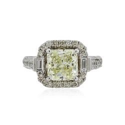 18KT White Gold 3.05 ctw Fancy Yellow Diamond Ring