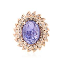 14KT Rose Gold 8.53 ctw Tanzanite and Diamond Ring