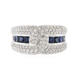14KT White Gold 0.82 ctw Sapphire and Diamond Ring