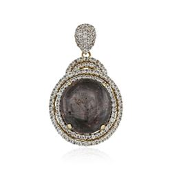 SILVER 33.48 ctw Star Ruby and White Sapphire Pendant