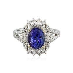 14KT Two-Tone Gold 3.16 ctw Tanzanite and Diamond Ring