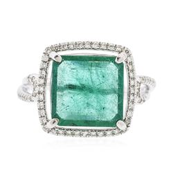 14KT White Gold 3.85 ctw Emerald and Diamond Ring