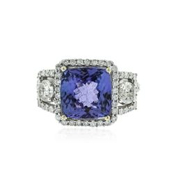 14KT White Gold 4.95 ctw Tanzanite and Diamond Ring