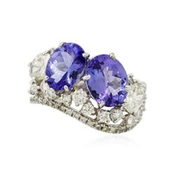 14KT White Gold 3.45 ctw Tanzanite and Diamond Ring