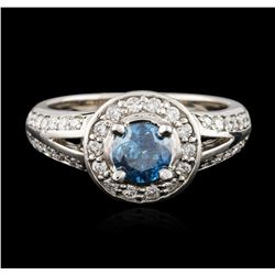 14KT White Gold 1.05 ctw Fancy Blue Diamond Ring