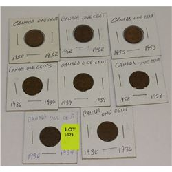 SET OF 8 CANADA PENNIES-1934,36,36,39,52,52,52,53
