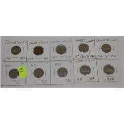 10 CANADA NICKELS-1927,29,34,39,40,42,43,45X2,&46