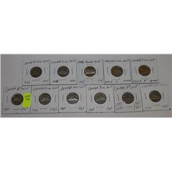 11 CANADA NICKELS-1947X2,49X2,51,52,53,58,62,&