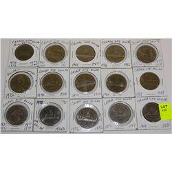 15 CANADA DOLLARS-1968,69,70,71,72,73,75,76,77,78,