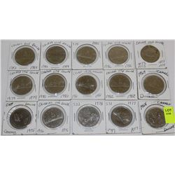 15 CANADA DOLLARS-1968,69,73,75,76,77,78,79,80,81,