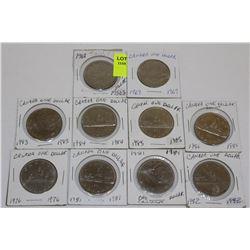 10 CANADA DOLLARS-1968,69,76,81X2,82,83,84,85&86