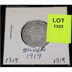CANADA SILVER QUARTER-1919