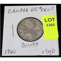 CANADA SILVER QUARTER-1940