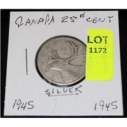 CANADA SILVER QUARTER-1945