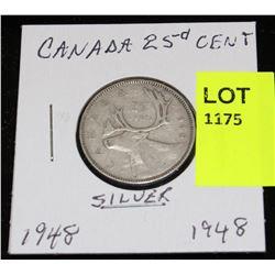 CANADA SILVER QUARTER-1948