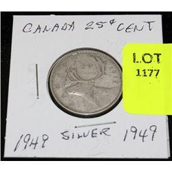 CANADA SILVER QUARTER-1949