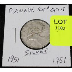 CANADA SILVER QUARTER-1951