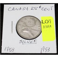 CANADA SILVER QUARTER-1953