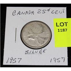 CANADA SILVER QUARTER-1957