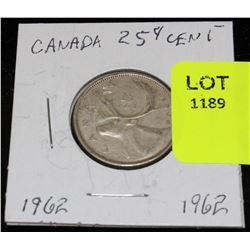 CANADA SILVER QUARTER-1962